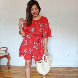 Dresses & Skirts - JOSELYN RED FLORAL RUFFLE DRESS